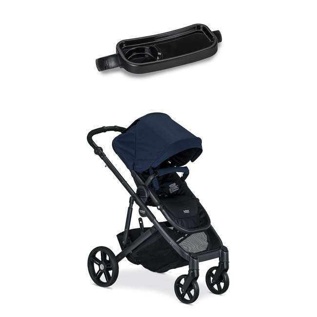 Britax Navy Folding Travel Canopy Baby Stroller With Black Snack Tray Accessory