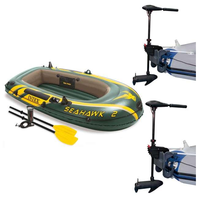 68347EP + 2 x 68631E Intex Seahawk 2 Inflatable Raft & 2 Trolling Motors