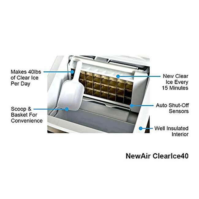 CLEARICE40 NewAir Counter-Top Clear Ice Maker Machine, Stainless Steel 4