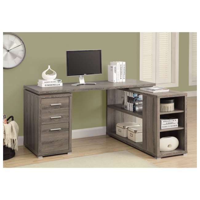 "VM-7319-U-A Monarch 60"" L Shaped Corner Computer Desk with Drawers, Dark Taupe (Open Box) 1"