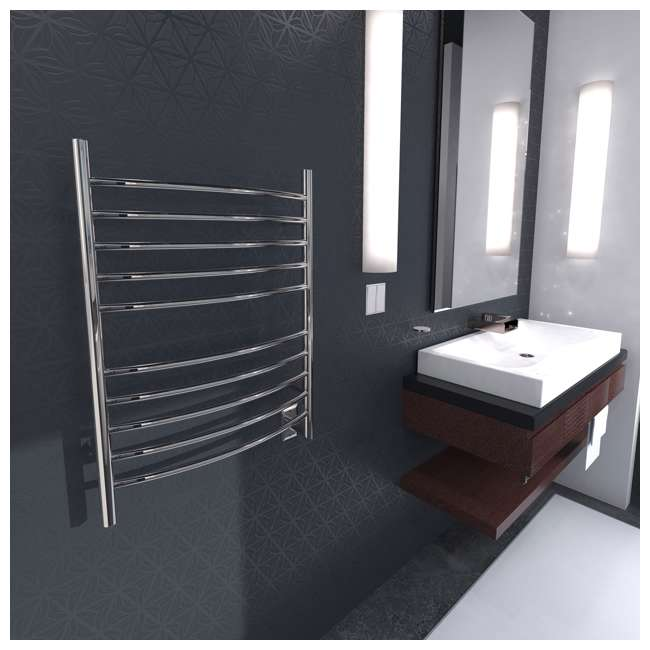 RWHL-CP Amba Radiant Large Hardwired Curved Towel Warmer, Polished 3