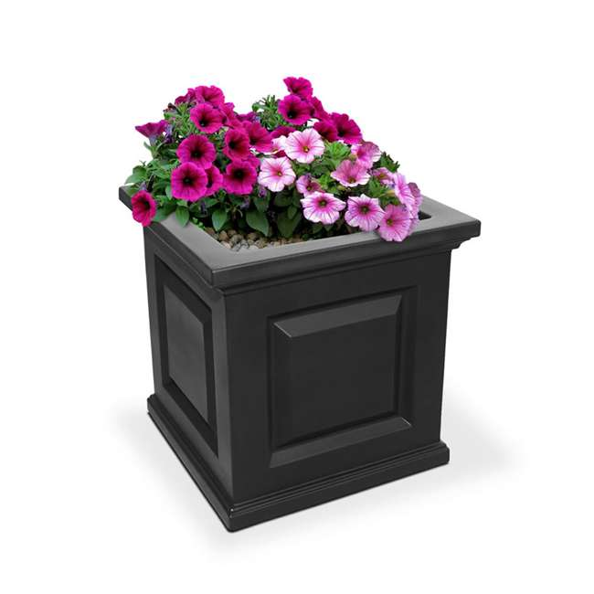 MO-5865-B Mayne Nantucket Large 16 In Square Plastic Outdoor Flower Pot Planter Box, Black