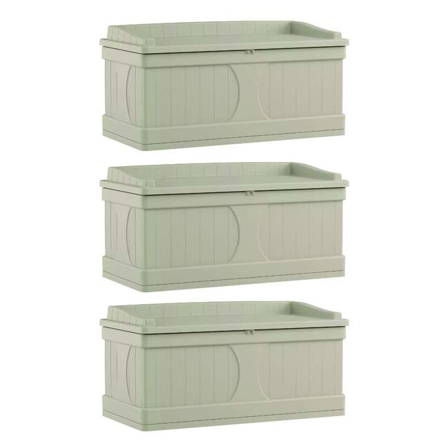 3 x DB9500 Suncast 99 Gallon Deck Box and Bench with Seating Capacity for two (3 Pack)