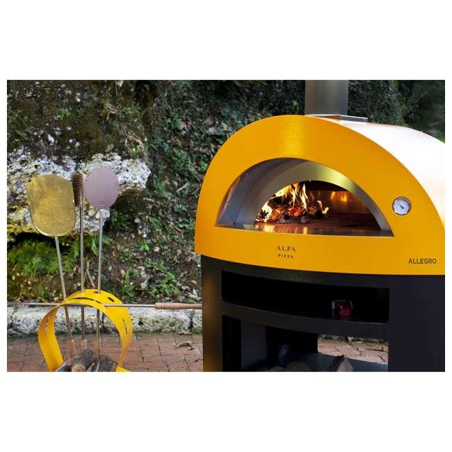 FXALLE-LGIA Alfa FXALLE-LGIA Allegro Outdoor Steel Italian Pizza Wood Oven with Base, Yellow 1