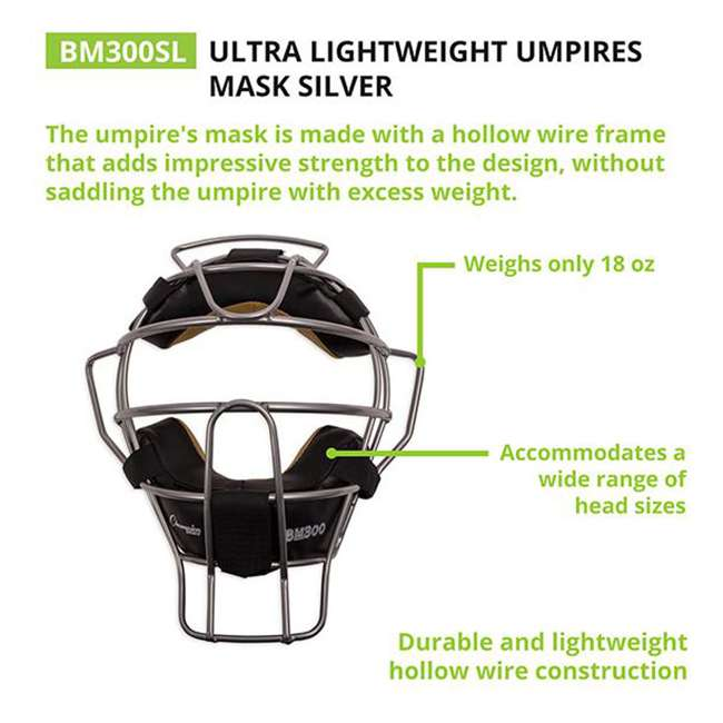 BM300SL Champion Sports BM300SL Ultra Lightweight Umpire Face Mask, Silver 1