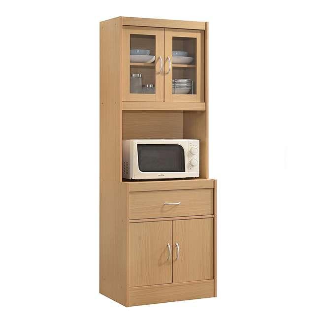 HIK96 BEECH Hodedah Freestanding Kitchen Storage Cabinet w/ Open Space for Microwave, Beech