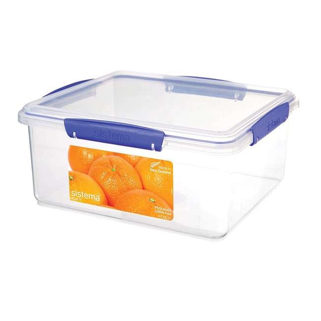 SISTEMA-1850 Sistema 1850 Klip It Rectangle Food Storage Box Container, 21 Cup
