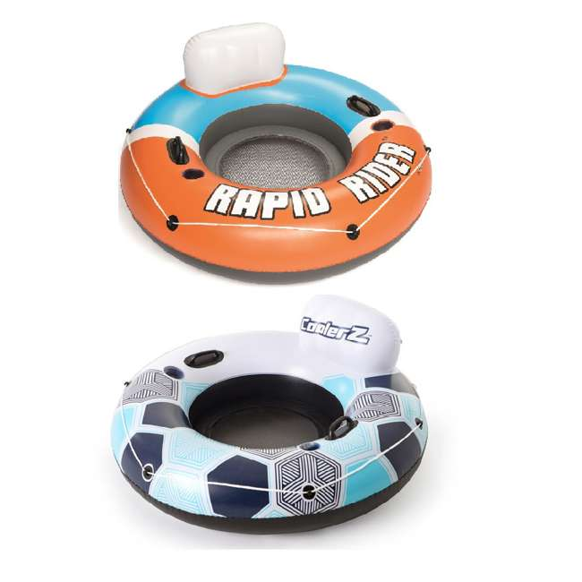 43116E-BW-NEW + 15496-BW Bestway Rapid Rider Inflatable River Tube, Orange & Inflatable River Tube, Blue
