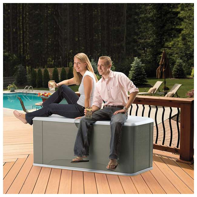 2047052 Rubbermaid Horizontal 16 Cubic Feet Storage Deck Box with Seat 4