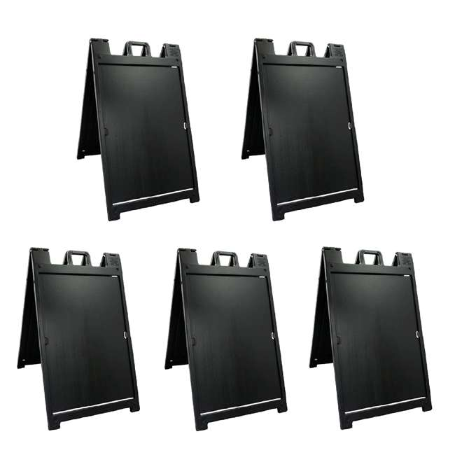 5 x 140NSBK Plasticade Deluxe Signicade Double-Sided Sign Stand, Black (5 Pack)