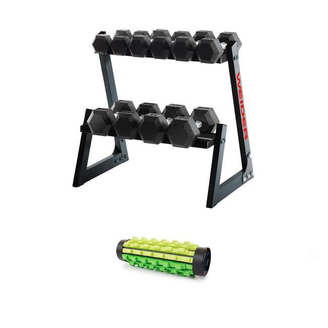 WDBKR20017-BOX1+WDBKR20017-BOX2+WDBKR20017-BOX3 Weider 200-Pound Rubber Hex Dumbbell Set with Rack and Foam Massage Roller