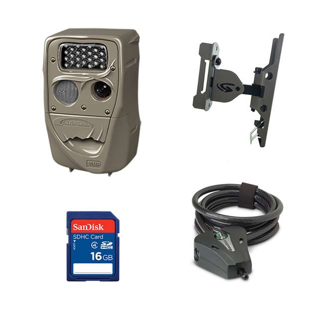 H-1453+SD4-16GB-SAN+3488-GENIUS-PTL+STC-CABLELOCK Cuddeback 20MP Trail Camera + 16GB SD Card + Camera Mount + Security Cable