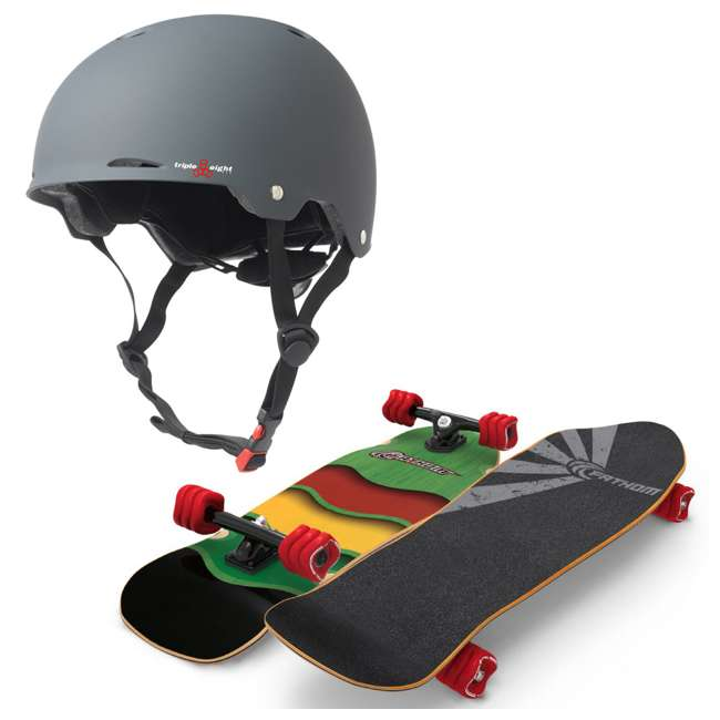 T8-3307 + 08286-SHARK Triple 8 Gotham Bike & Skate Helmet + Fathom Shark Wheel Rasta Cruiser Longboard