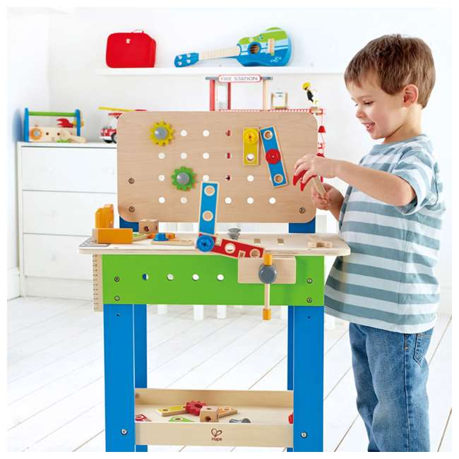 E3000 Hape Wooden Child Master Tool and Workbench Toy Builder Set (For Parts) 1