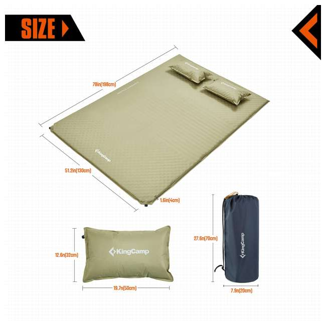 KM359430070000 KingCamp Double Self Inflating Camping Sleeping Pad Mat with 2 Pillows, Beige 1