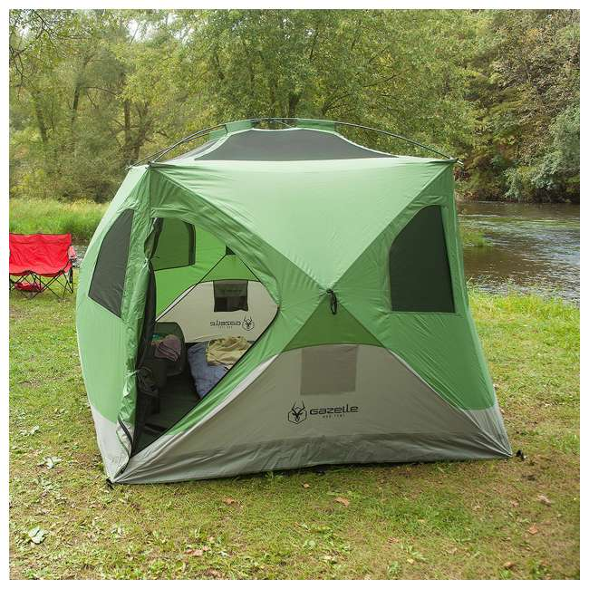 GAZL-30400-U-B Gazelle Tents T4 Pop-Up Hub 4-Person Outdoor Camping Tent, Green (Used) 5