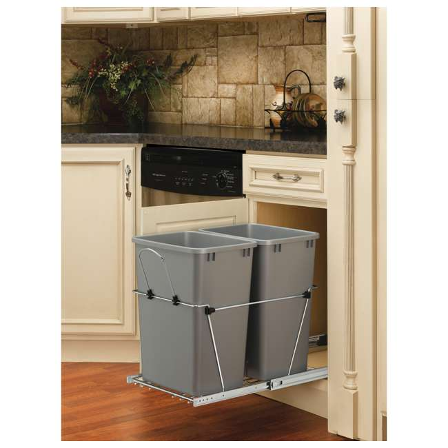 RV-18KD-17C S Rev-A-Shelf RV-18KD-17C S Double 35 Quart Pull-Out Waste Containers, Silver 2