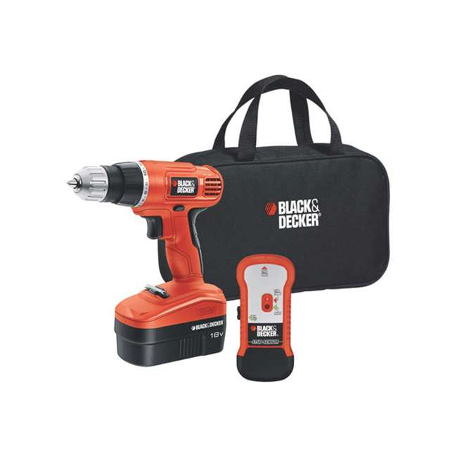 GCO18SFB + 71-966 + BDMKIT101C Black & Decker Drill Driver Kit & 66 Piece Bit Set & Picture Hanging Kit