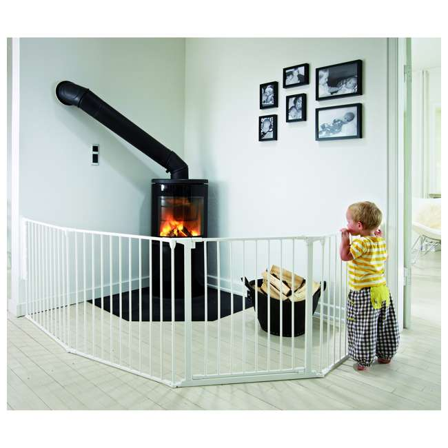 "BBD-56814-10400 BabyDan Flex Hearth 35.4-109.5"" XL Size Safety Baby Gate for Fireplace, White 5"