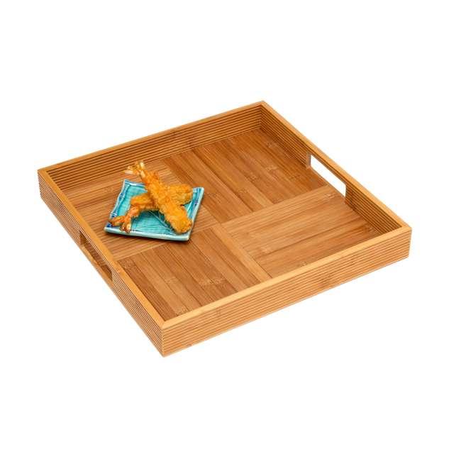 LP-8866 Lipper International Wooden Bamboo Criss Cross Serving Tray w/ 2 Cutout Handles 1