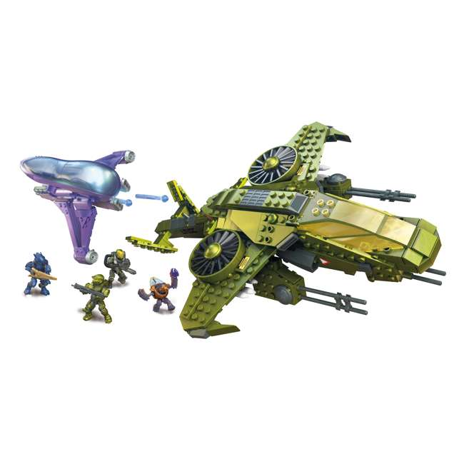 GGF83 Mega Construx Halo Aerial Ambush Block Building Set w/ 2 Vehicles & 4 Figures