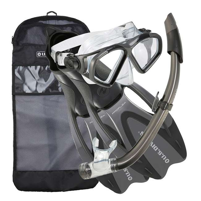 SR259O1201S U.S. Divers Cozumel Snorkeling Set w/ Small Fins, Mask, Snorkel, and Bag, Gray