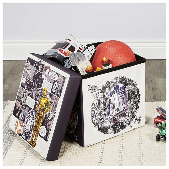 520018-004 Fresh Home Elements 15-Inch Portable Toy Chest and Ottoman Cube, Star Wars 5