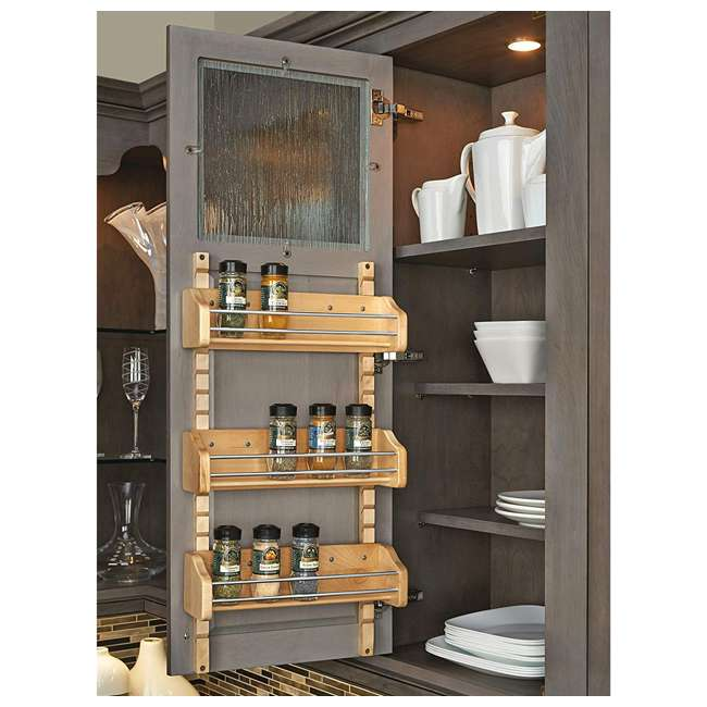 4ASR-18 Rev-A-Shelf 4ASR-18 Medium Cabinet Door Mount Wood Adjustable 3-Shelf Spice Rack 2