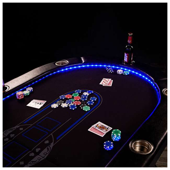 ARC084_017P Lancaster 10 Player Poker Game Table with Cup Holders, LED lights 6