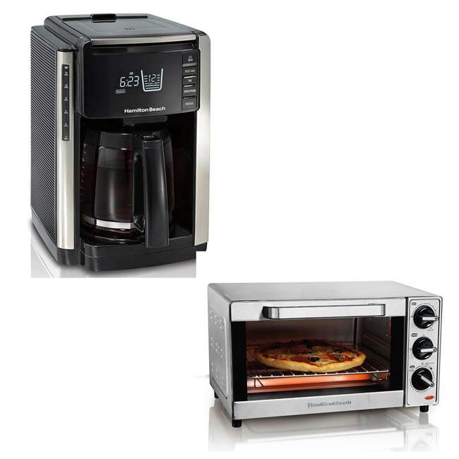 45300 + 31401 Hamilton Beach Coffee Maker and Toaster Oven, Stainless Steel