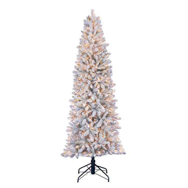 TG70P3A45S04-U-B Home Heritage 7' Frosted Alpine Quick Set Flocked Christmas Lit Tree (Used)