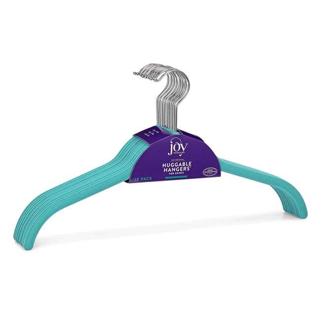 JHR013900 Huggable Hangers Shirt Hangers 24-pack, Chrome, Teal 1