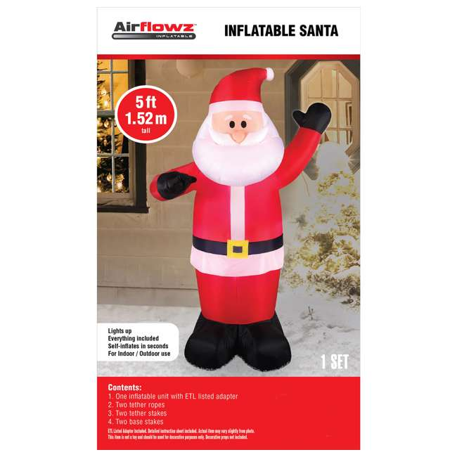BAN-94447 Airflowz 5 Foot Life Size Inflatable Santa Claus Decor with Built In LED Lights 2