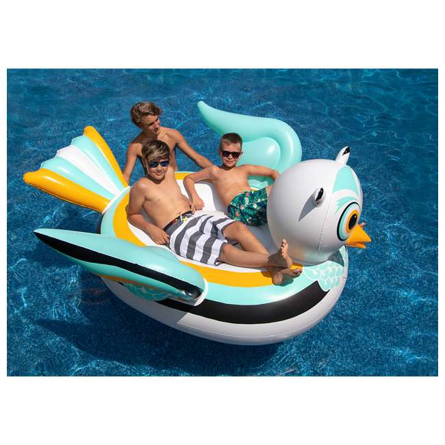 SL-90721M + SL-90719M Giant Ride able Owl Inflatable Float Bundled w/ Inflatable Ride On Swan Float 4