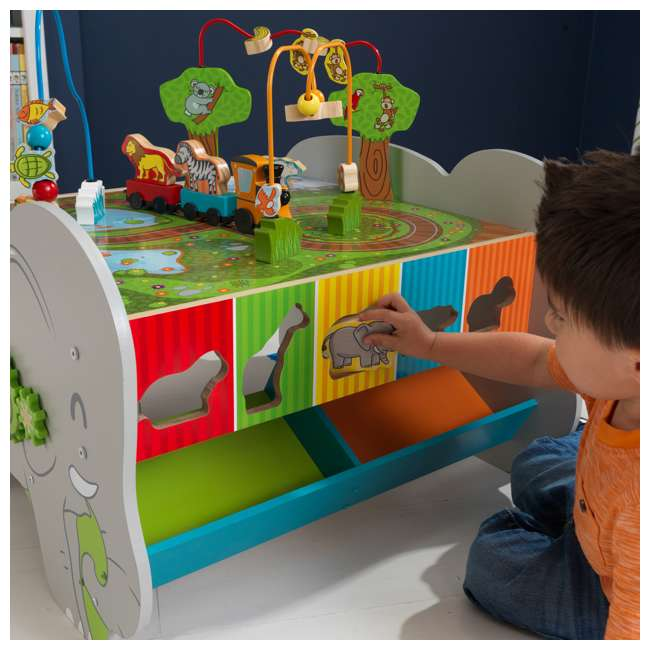 17508 KidKraft Kids Toddler Wooden Zoo Train Play Table Activity Station with Storage 10