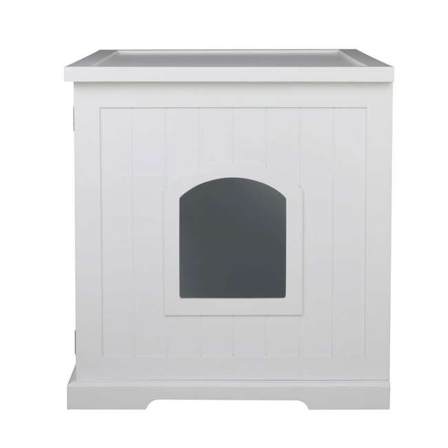 MPS010-U-D Merry Products Bench with Enclosed Cat Litter Washroom Box, White (Damaged) 10