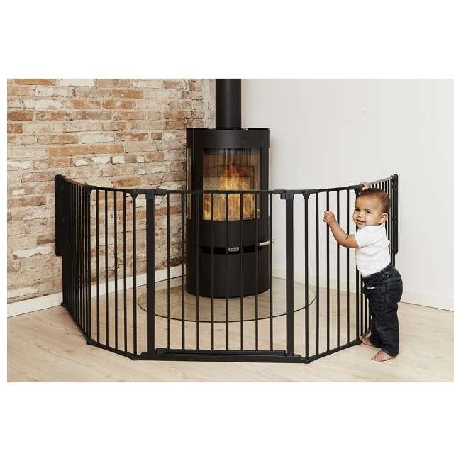 "BBD-56816-10600 BabyDan Flex Hearth 35.4-109.5"" XL Size Safety Baby Gate for Fireplace, Black 4"