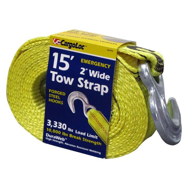 82493 CargoLoc 82493 Emergency 15 Ft x 2 In 10,000 Lb Vehicle Recovery Tow Hook Strap