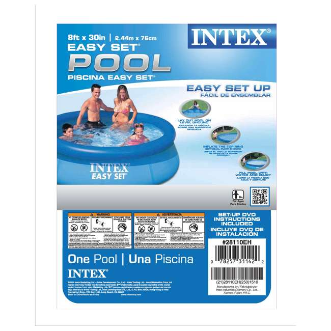 "28110E Intex 8' x 30"" Easy Set Inflatable Above Ground Swimming Pool 28110E (Open Box) 3"