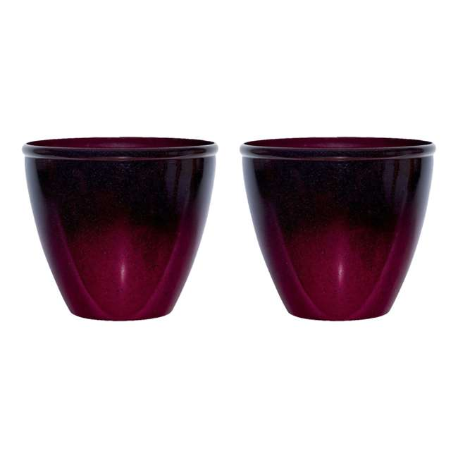 1606RP36 Suncast Seneca 16 Inch Ombre Resin Plant Flower Planter Pot, Red/Plum (2 Pack)