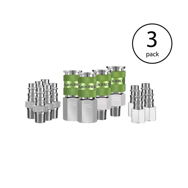 3 x LEG-A53458FZ Flexzilla 14-Piece Pro High Flow Coupler and Plug Kit (3 Pack)