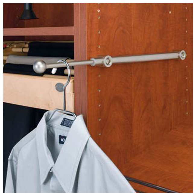 CVR-12-CR Rev A Shelf Designer Series 12 Inch Metal Closet Valet Clothes Rod, Chrome (2 Pack) 3