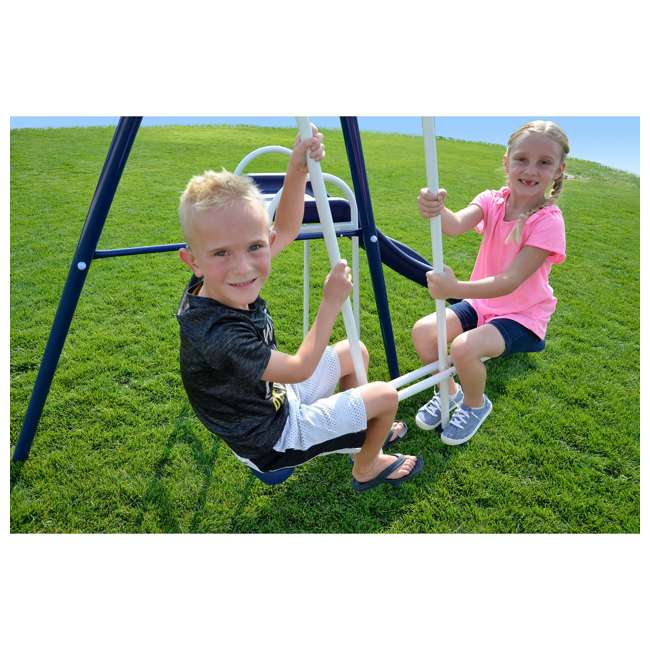 MSC-3242-BM Almansor Metal Outdoor Swing Set with Trampoline 7
