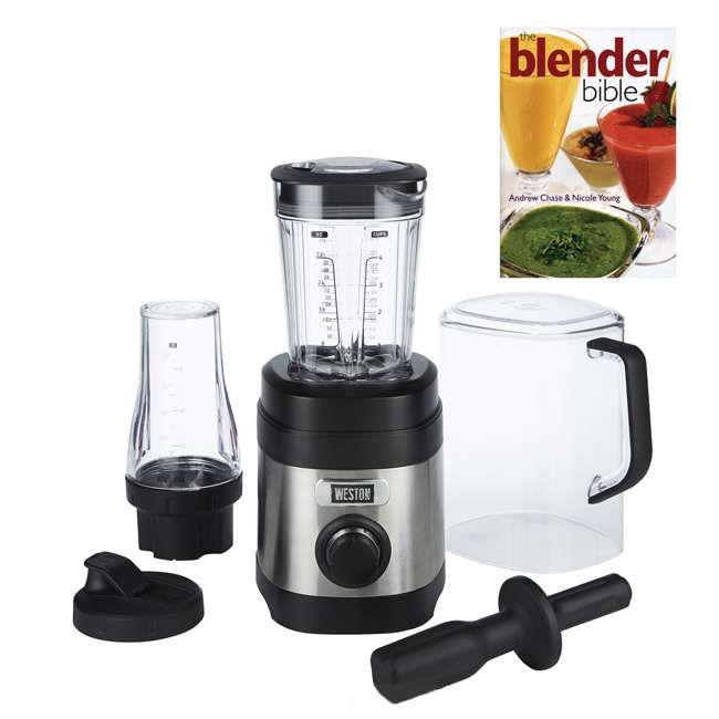 58918 + BLEND-BIBLE Weston 32 Ounce Blender with Personal To Go Jar & Blender Bible Recipe Book