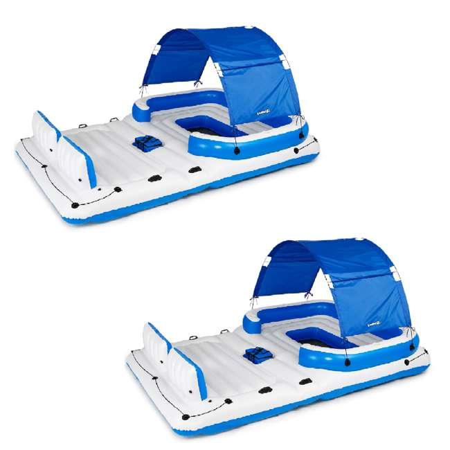 43105E-BW Bestway CoolerZ Tropical Breeze 6 Person Floating Lake Raft Lounge (2 Pack)