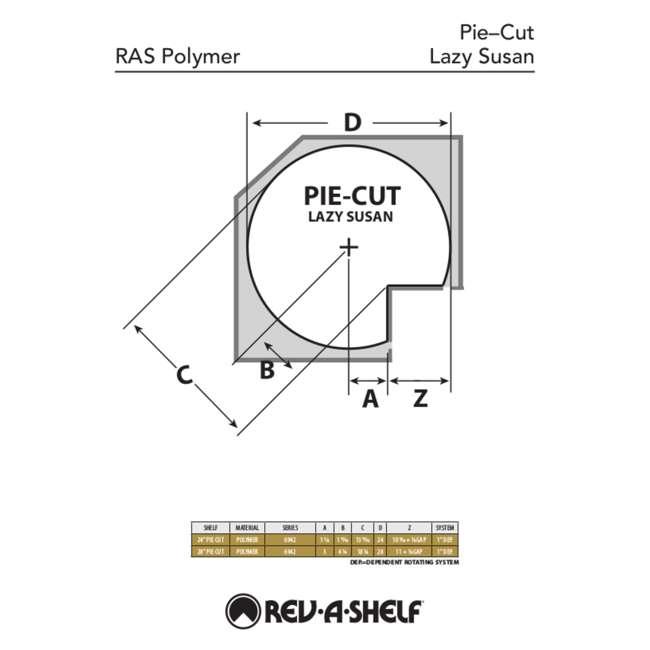 6942-28-11-52 Rev-A-Shelf 6942-28-11-52 28 Inch White Polymer Pie Cut 2 Shelf Lazy Susans 5