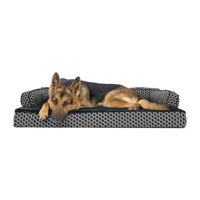 46536257BX Furhaven 46536257BX Jumbo Plush Faux Fur Orthopedic Sofa Pet Bed, Diamond Gray 1