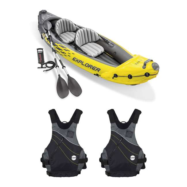 68307EP + 2 x NRS_40034_01_102 Intex Explorer Inflatable Kayak with Air Pump & Small/Medium Life Jacket (2 Pack)