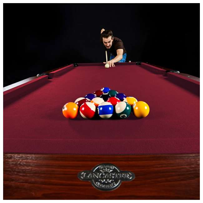 BL090Y19019 Lancaster 90 Inch Traditional Full Size Billiard Pool Table Set w/ Accessories 6