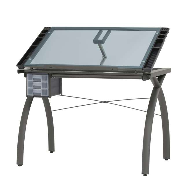 STDN-38021 SD Studio Designs Futura Drafting & Drawing Table w Adjustable Top, Blue Glass